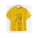 Cartoon Cute Cat Letter SPACE CAT Printed Round Neck Short Sleeve Yellow Casual Unisex T-Shirt