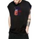 Summer Men's Trendy Glass Graphic Printed Sleeveless Cotton Loose Fit Tank