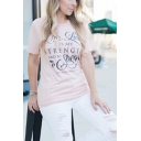Simple Cool Letter STRENGTH Print Round Neck Short Sleeve Casual T-Shirt