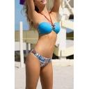 Hot Fashion Chain Printed Halter Hollow Out Sexy Bikini Swimwear