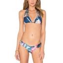 Retro Tropical Floral Printed Halter Tied Back Bikini Swimwear
