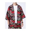 Summer Chinese Style Tribal Print Three-Quarter Sleeves Loose Cardigan Kimono Coat for Men