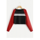 Fashionable Cropped Stripes Print Colorblock Long Sleeve Round Neck Black Pullover Sweatshirt