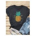 Fashion Pineapple Pattern Round Neck Short Sleeve Dark Grey T-Shirt