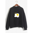 Kawaii Funny Omelette Printed Long Sleeve Mock Neck Unisex Pullover Sweatshirt