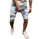 Men's Fashion Popular Destroyed Ripped Embroidery Patched Stretch Fit Light Blue Denim Shorts