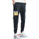 Mens Fashion Letter SAY YES Print Drawstring Waist Elastic Cuff Casual Cargo Pants