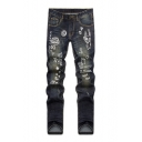 Guys New Trendy Letter Cartoon Printed Blue Straight Fit Jeans