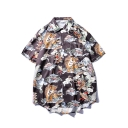 Summer New Trendy Retro Ukiyo-e Tiger Printed Unisex Holiday Black Hawaiian Shirt
