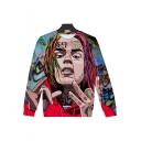 American Rapper 3D Figure Printed Round Neck Long Sleeve Unisex Pullover Sweatshirt