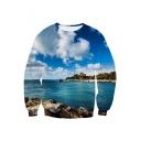 Unisex 3D Blue Sky Cloud Sea Landscape Printed Long Sleeve Pullover Sweatshirt