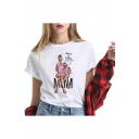 Mother's Day Theme Fashion Figure Printed Round Neck Short Sleeve White T-Shirt