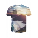 Digital Cloudy Sky Mountain Printed Round Neck Short Sleeve Tee