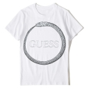 Unisex Snake Letter GUESS Printed Round Neck Short Sleeve Loose Fit White T-Shirt