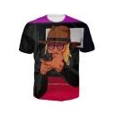 New Trendy 3D Figure Print Summer Short Sleeve Round Neck Black T-Shirt