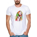 Jamaican Singer-Songwriter Popular Figure Colorful Painting Summer Men's Short Sleeve White Tee