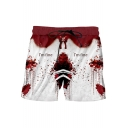 Stylish Blood Letter I'M FINE Drawstring-Waist Sport Loose Red Swim Shorts for Men
