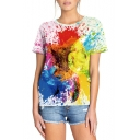 Unique Colorful Ink Painting Short Sleeve Summer White Tee