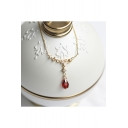 Harry Potter Popular Drip-Shaped Red Diamond Silver Necklace