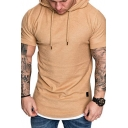 Mens Summer Basic Simple Plain Short Sleeve Fitted Hooded T-Shirt