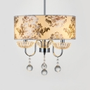 Contemporary Chrome Light Fixture with Drum and Clear Crystal Decoration 3 Lights Chandelier