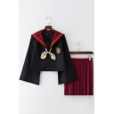 Harry Potter Costume Cosplay Slytherin Gryffindor Sailor Suit Uniforms Bow Front Flare Sleeves Shirt Pleated Skirt Co-ords
