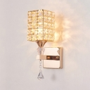 Clear Crystal Rectangular Wall Mount Light Fixture Antique Style Sconce Lighting in Rose Gold