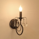 Black Candle Wall Lighting Fixture 1-Light Contemporary Style Metal Sconce Light with Clear Crystal for Hallway