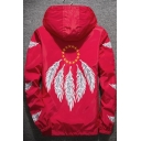 Mens New Stylish Feather Printed Long Sleeve Hooded Zip Up Sport Casual Jacket