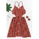 Women's Sexy Hollow Out Ethnic Floral Printed Caramel Mini Cami A-Line Dress