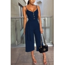 New Trendy Spaghetti Straps Plain Buttons Embellished Front Tied Waist Jumpsuit