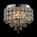 Clear/Amber Crystal Ceiling Lighting for Bedroom 4-Light Antique Style Flush Mount Light Fixture, H12