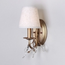 Antique Style Bucket Sconce Lighting Fabric 1/2-Light Linen Wall Light with Clear Crystal Bead for Bedroom
