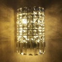 Bathroom Sconce Lighting Clear Crystal Vintage Style Wall Mount Light Fixture, H8.5