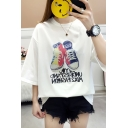 New Trendy Letter Shoes Printed Summer Loose Fit Short Sleeve T-Shirt