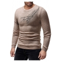 Trendy Letter Feather Embroidery Mens Round Neck Slim Fit Pullover Sweater