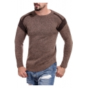 Mens Hot Popular Crew Neck Color Block Long Sleeve Slim Fit Sweater