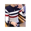 Trendy Colorblock Striped Print Crew Neck Guys Slim Fit Knit Jumper Sweater