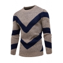 Men's Stylish Chevron Stripe Print Crewneck Long Sleeve Pullover Marled Knit Sweater