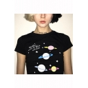 Girls Fancy Letter Planet Printed Short Sleeve Slim Fit Black Cropped T-Shirt
