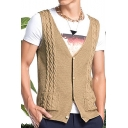 Mens New Fashion Basic Plain V-Neck Button Front Khaki Cable Knit Sweater Vest
