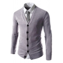 Mens Basic Simple Plain V-Neck Long Sleeve Light Grey Business Slim Fit Cardigan