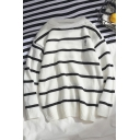 Mens Classic Striped Print Round Neck Long Sleeve Pullover Sweater