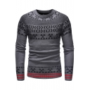 Men's Fashion Geometric Printed Jacquard Long Sleeve Crewneck Contrast Hem Fitted Sweater