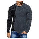 Fashionable Mens Crew Neck Long Sleeve Asymmetrical Hem Grey and Black Fitted Pullover Sweater