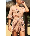 Holiday Fashion Floral Printed V-Neck Half Sleeve Tie Waist Rompers