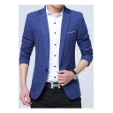 Casual Notched Lapel Long Sleeves Single Button Plaid Business Suits for Men