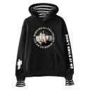 Popular American Singer Fashion Letter DON'T SMILE AT ME Circle Letter Figure Striped Patched Pullover Hoodie