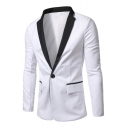 New Trendy Mens Single Button Long Sleeves Flap-Pockets Slim Fit White Tuxedo Jacket