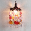 Single Light Ceiling Pendant Light with Colorful Crystal Slice Vintage Suspended Light in Copper